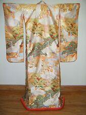 Gorgeous Apricot Silk Japanese Uchikake Wedding Kimono w/ Cranes, Ume & Pine