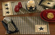 Star Patch Primitive Country Placemats by Park Designs Set of 4 - Black Red Tan