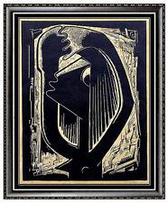 ANGEL BOTELLO Original Signed WOODCUT DANCING SURREALISM Painting ART Print RARE