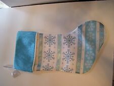 TURQUOIS & WHITE SNOWFLAKE PADDED & LINED CHRISTMAS STOCKING DECORATION
