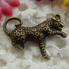 Free Ship 12 pieces bronze plated leopard pendant 42x32mm  #056