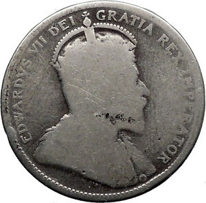 Canada 1905 25 Cents Silver purity 925 Coin with British King Edward VII i32338