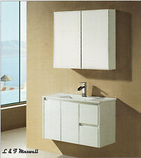 Bathroom Wall Hung Vanity with Ceramic Basin and Gloss Doors 900mm