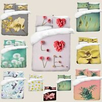 3D Photo Print Flowers Design Digital Duvet Quilt Cover With Pillowcases