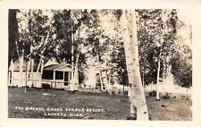 Laporte Mn~The Birches~Trees & Cabins~Child's Summer Resort Rppc 1929 Postcard