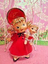 Vtg Lefton Christmas Shopper Baby Girl W Baby Doll Toy W Gold Hair & Red Bonnet