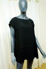 """SHAMASK Lush Black Silk Long Over-Sized Cap Sleeved Tunic with Slits, Size """"3"""""""