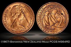 1967 New Zealand Bahamas Mule Error PCGS MS64RD 30th Ann. Label 2c 5c TrueView
