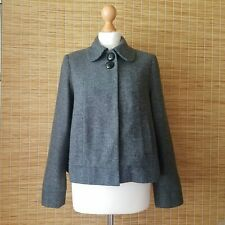La Redoute Creation Grey Wool Blend Pea Coat UK 10 Cropped Jacket Front Pockets