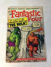 FANTASTIC FOUR #12 SUPER KEY ISSUE, HULK VS THING, KIRBY, STAN LEE, 1962