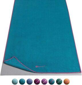 "Gaiam Yoga Mat Towel Super Absorbent Full Size 24"" x 68"" ~ Green & Fuchsia"