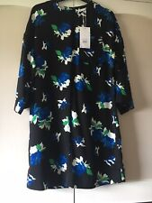 Warehouse Blue Black White dress Tunic floral Rose print 8 party Work Autumn