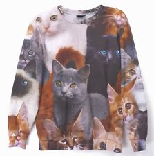CATS Photo Print Sweatshirt All Over Print Kittens Real Picture Pullover S/M