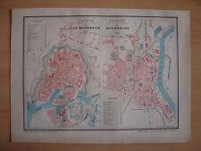 CARTE PLAN Villes et Ports de LA ROCHELLE et de ROCHEFORT Gravure vers 1880