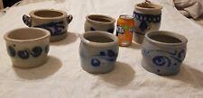 6 Antique German Cobalt Blue Salt Glazed Pottery Stoneware Westerwald