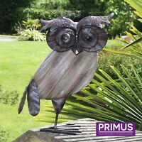 Primus Metal & Wood Rustic Owl Garden Bird Ornament Sculpture Gift Ideas PQ1591