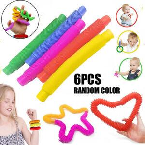6PCS Fidget Pop Tube Toys Sensory Stretch Pipe Tools Decompression Stress UK