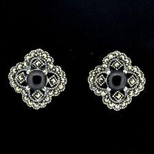Sterling Silver Vintage Style Marcasite & Black Agate Big Stud Earring RRP $105