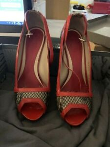 AUTHENTIC Alexander McQueen Shoes Red SHINY PYTHON Heels Size 37 WITH BOX