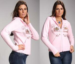Sweater Ladies Hoodie Front Zip Top Womens Long Sleeve Zipper with Hood S M 8 10