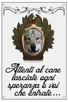 LUPO CECOSLOVACCO DANTE ALIGHIERI TARGA METALLO CARTELLO IDEA REGALO CANE