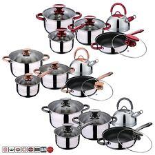 10 Pcs Induction Hob Stainless Steel Saucepan Casserole Dining Cookware Pot Set