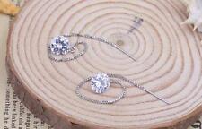 Womens 925 Sterling Silver 8mm CZ Crystal Threader Drop Dangle Earrings #E220