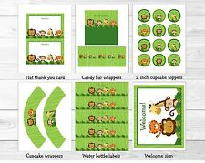 Jungle Animals Safari Friends Printable Baby Shower Party Package
