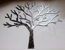 "Silver Wintery Oak Tree  Metal Wall Art Decor 14"" tall x 15"" wide"