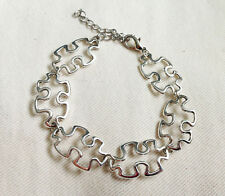 Antique Silver Plated Autism Awareness Puzzle Piece Bracelet, Ladies Girls Gift