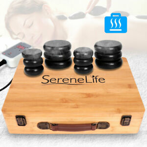 SereneLife PSLMSGST65 Hot Stone Massage Therapy System Kit with Travel Case