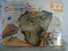ROYAL & LANGNICKEL COLOUR PENCIL SET OF 4 PROJECTS - OWL/WOLF - TAKE A LOOK !!