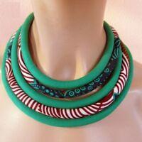 Women African Bib Statement Necklace Ankara Fabric Multi Layer Handmade Jewelry