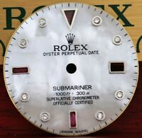 Custom Rolex Submariner White MOP Diamond Ruby Dial To Fit Submariner 40mm Watch