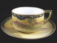 "Antique Nippon Cups & Saucers with Landscape & Gold ""M in Wreath"" #47"