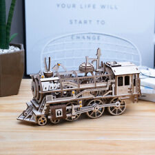 ROBOTIME DIY Wooden Steam Locomotive Mechanical Model Kits Train Gear Drive Toy