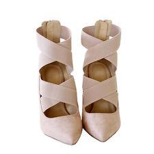 Trendy Chic Elastic Band Strap Stiletto Heel Pump Pointy Toe Suede Nude Sz 8.5