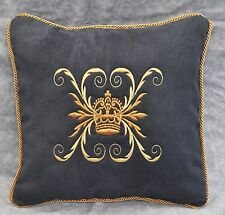 "Embroidered Crown Pillow made w Navy Blue Brushed Corduroy Fabric 16"" trim cord"