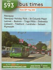 WESTERN GREYHOUND 593 BUS TIMETABLE May 2013 Newquay to Plymouth leaflet VGC