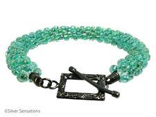 Rainbow Aqua Green Kumihimo Seed Bead Unique Summery Fashion Bracelet