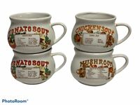 Vintage Set Of 4 Dat'l Do-It Inc. Recipe Soup Bowls Mugs Cups Mushroom~Tom.~Chic