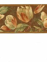 Tulips & Floral on Brown Wallpaper Border BD41655B