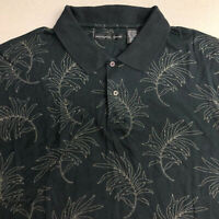 Natural Issue Polo Shirt Mens 2XL Black Tan Short Sleeve Cotton Knit Leaf Print