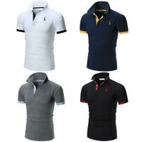 Men's Polo Shirts Lapel Dri-Fit Golf Sports Cotton T-Shirt Casual Short Sleeve