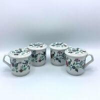 VTG Set Of 4 Porcelain Floral Coffee Tea  Mugs With Lids