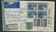 SOUTH AFRICA (P0408B) 1951 A/M COVER 3D CYLINDER BL 4, NO 44A + REG TO CZECHOSLO