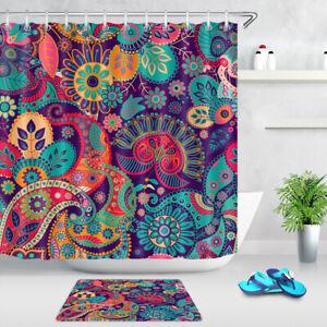 Ethnic Tribe Mandala Floral Paisley Pattern Shower Curtain Set Waterproof Fabric