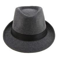 Vintage Hommes Jazz Dur Feutre Chapeau Hiver Chaud à Court Bord Fedora Trilby