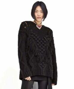 NWT ZARA Fringe Pom Pom Black Oversized Sweater Chunky J Small S Crew Neck