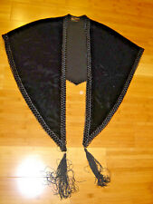 Vintage 50's fifties  black velvet cape lined braid trim tassels